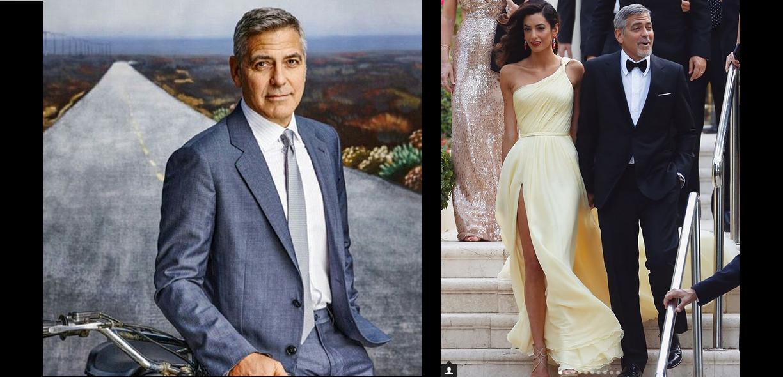George Clooney z żoną. Przystojny George Clooney.